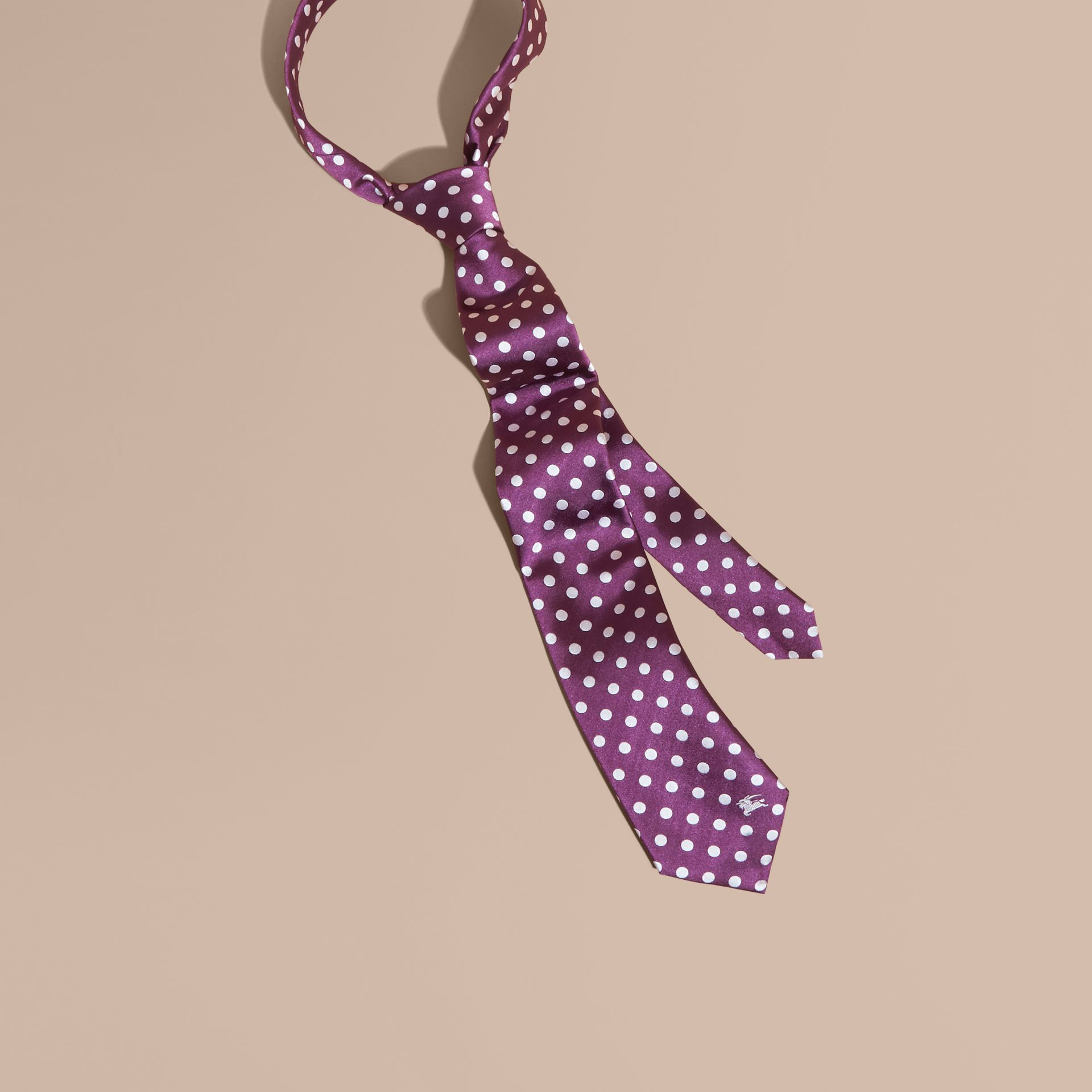 Modern Cut Polka-dot Silk Jacquard Tie in Purple Black - Men | Burberry - gallery image 1