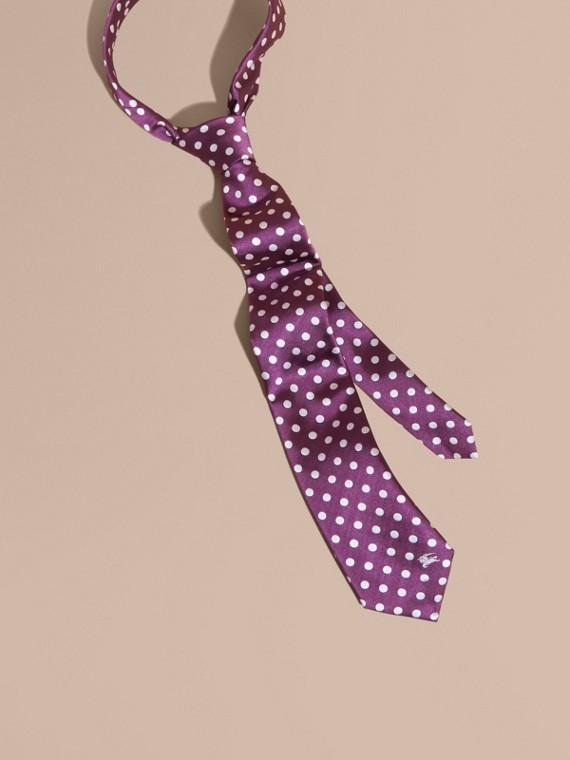 Corbata de pala moderna a lunares en jacquard de seda (Negro Púrpura)