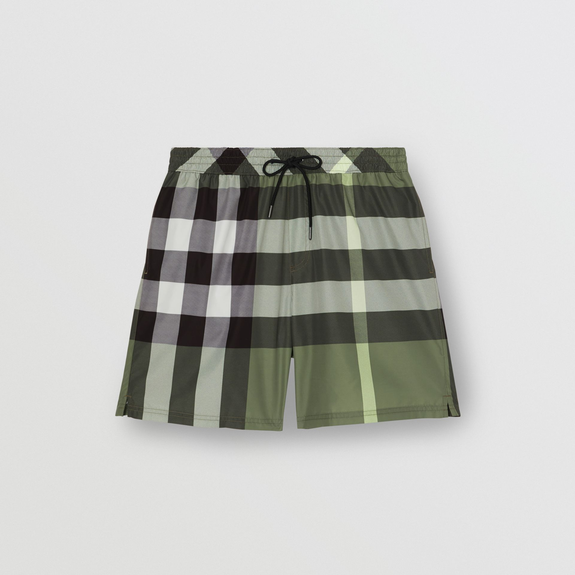 Check Drawcord Swim Shorts in Chalk Green - Men | Burberry United Kingdom - gallery image 2