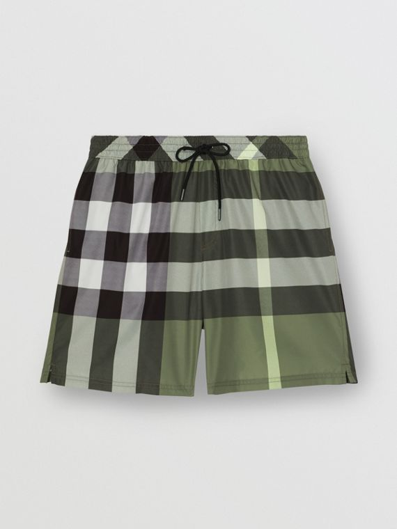 Check Drawcord Swim Shorts in Chalk Green