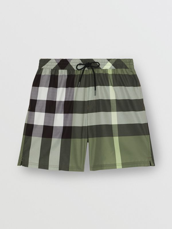 Check Drawcord Swim Shorts in Chalk Green - Men | Burberry - cell image 2