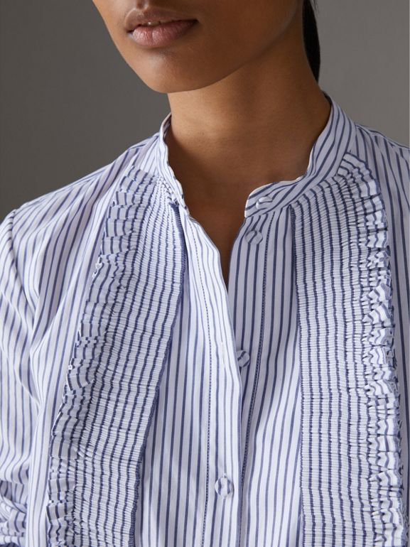 Ruffle Detail Striped Cotton Tunic Shirt in Navy/white - Women | Burberry - cell image 1
