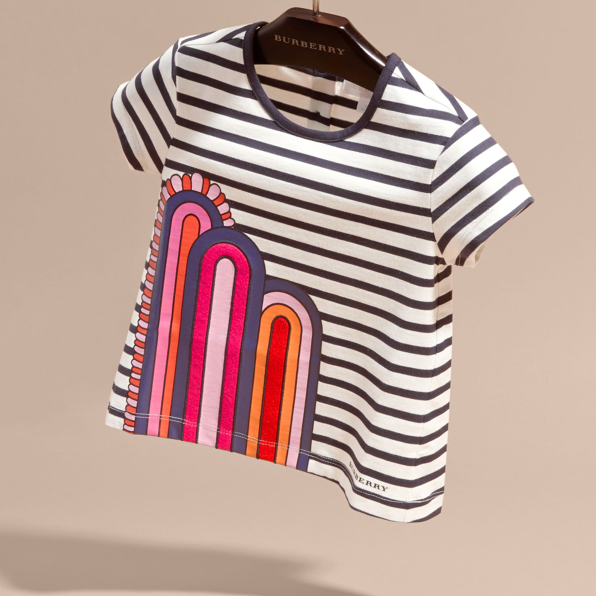 Navy/white Rainbow Appliqué Striped Cotton T-shirt - gallery image 3