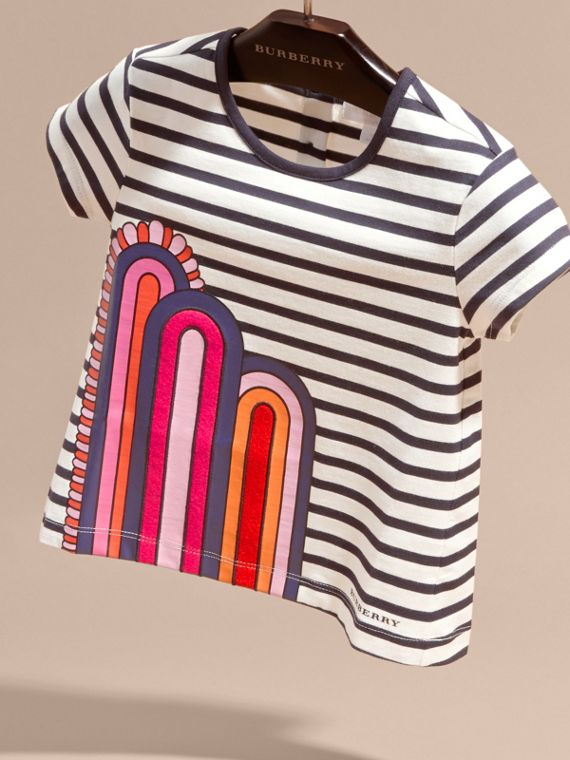 Navy/white Rainbow Appliqué Striped Cotton T-shirt - cell image 2