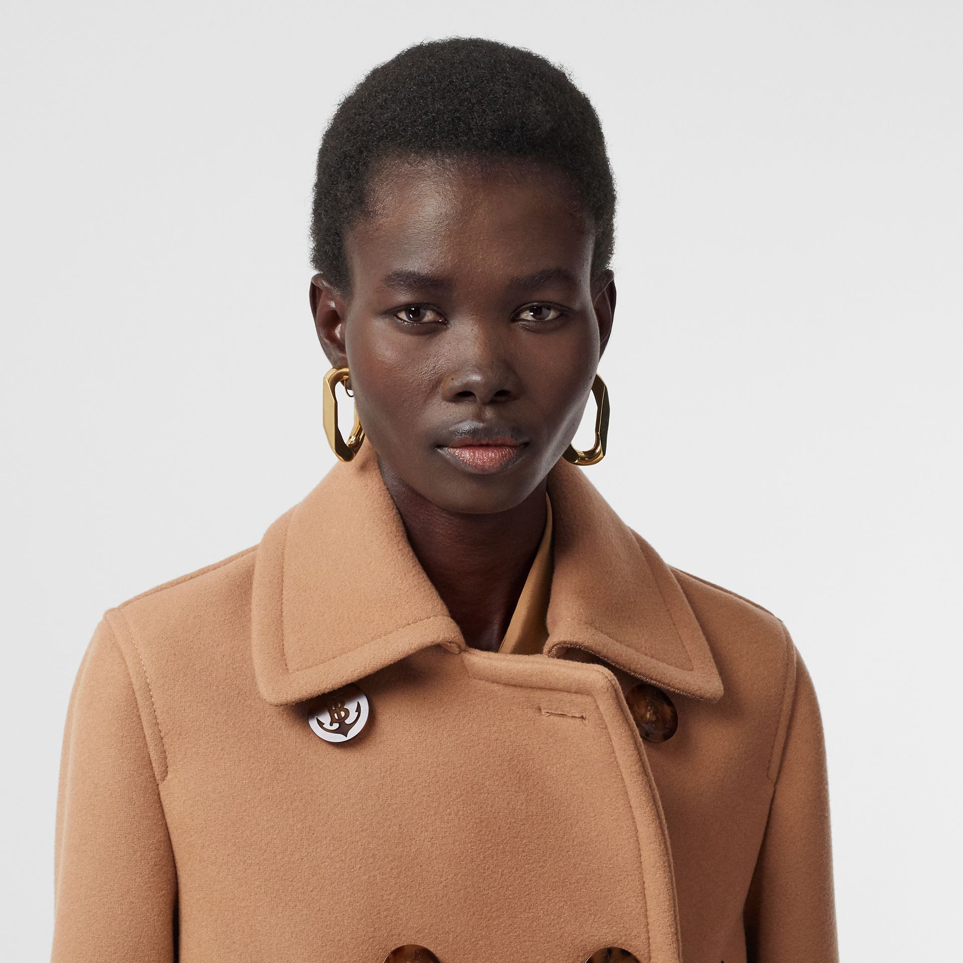 Lambskin Pocket Wool Blend Pea Coat in Camel - Women | Burberry - gallery image 1