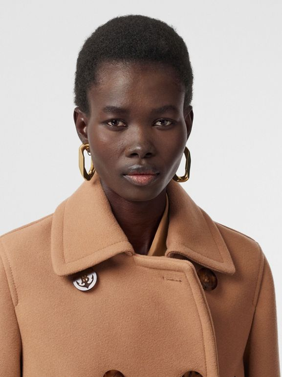 Lambskin Pocket Wool Blend Pea Coat in Camel - Women | Burberry United Kingdom - cell image 1