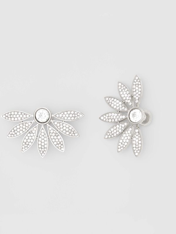 Crystal Half-daisy Stud Earrings - Women | Burberry - cell image 3