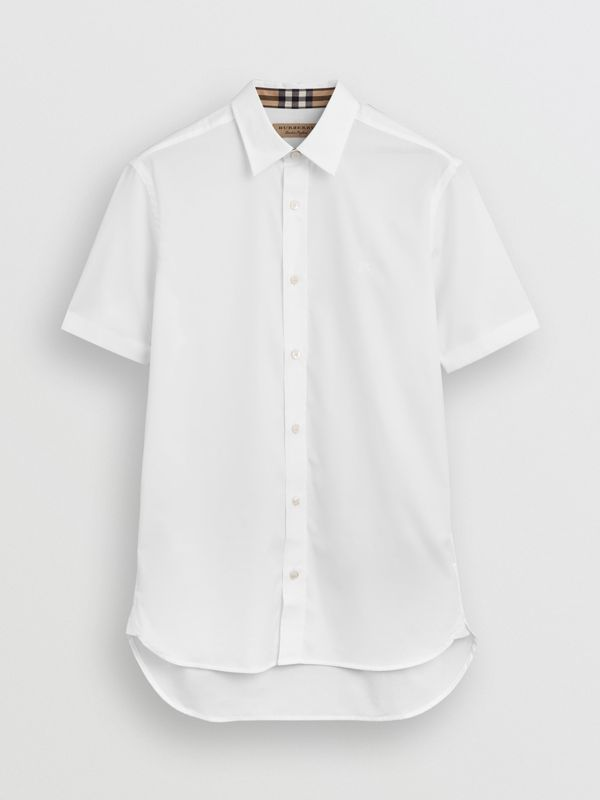 Short-sleeve Stretch Cotton Shirt in White - Men | Burberry Australia - cell image 3