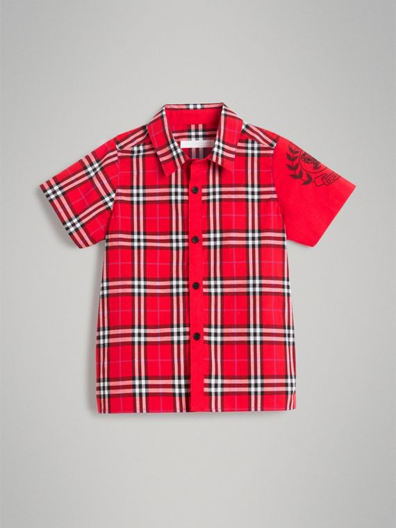 Short-sleeve Archive Logo Detail Check Cotton Shirt in Bright Military Red