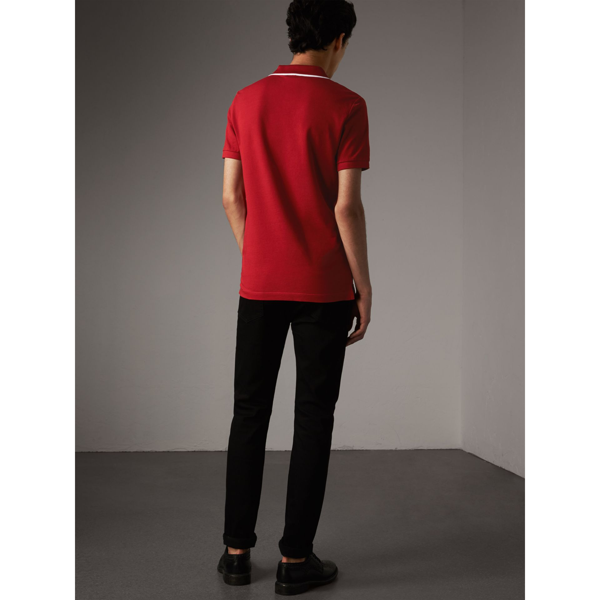 Tipped Collar Cotton Piqué Polo Shirt in Military Red - Men | Burberry Singapore - gallery image 3