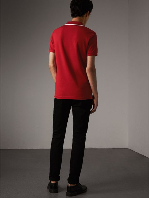Tipped Collar Cotton Piqué Polo Shirt in Military Red - Men | Burberry Singapore - cell image 2