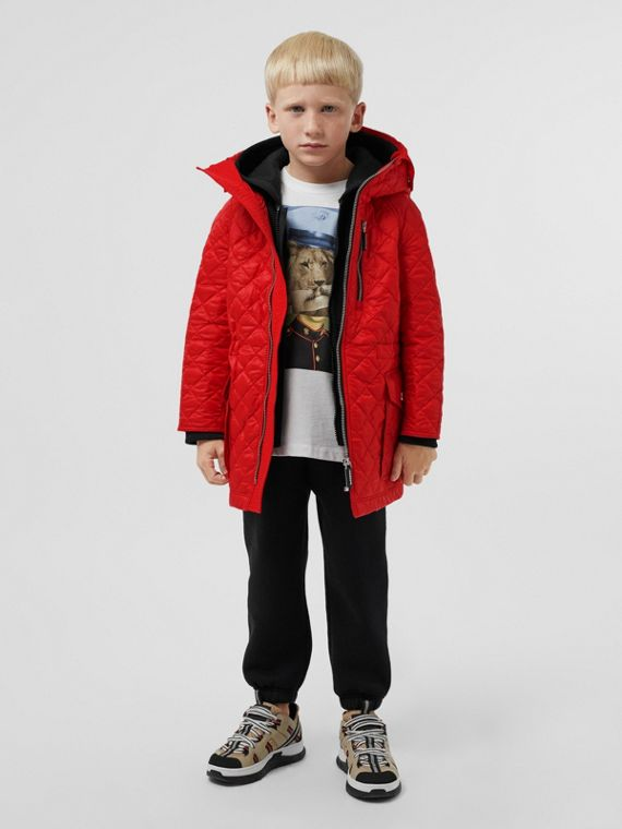 Diamond Quilted Hooded Coat in Bright Red