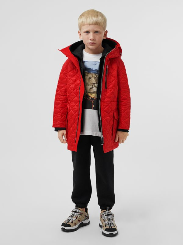 Diamond Quilted Hooded Coat in Bright Red | Burberry - cell image 2