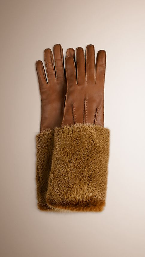 Gold freesia Mink Detail Leather Gloves - Image 1