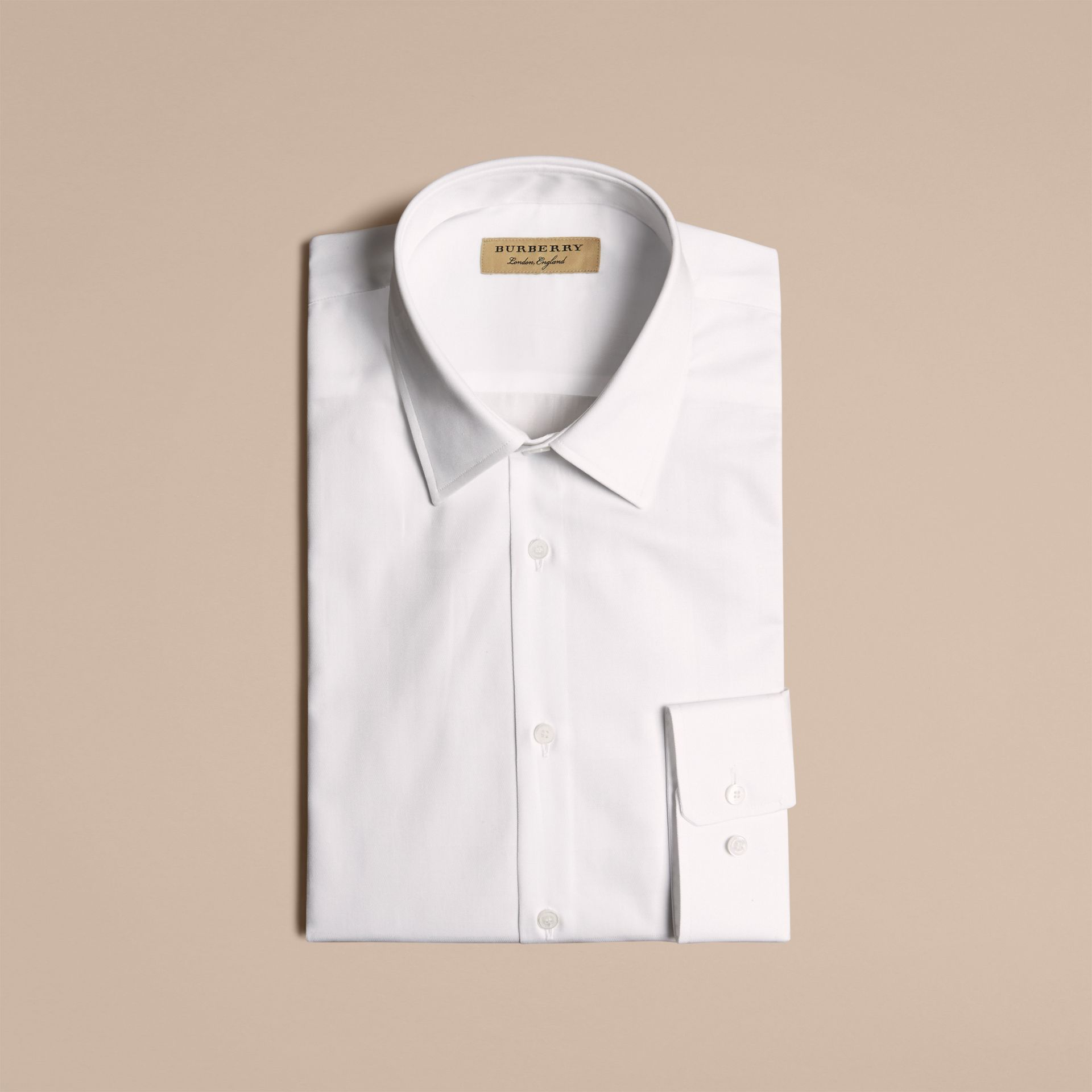 Modern Fit Check Cotton Poplin Shirt in White - gallery image 4