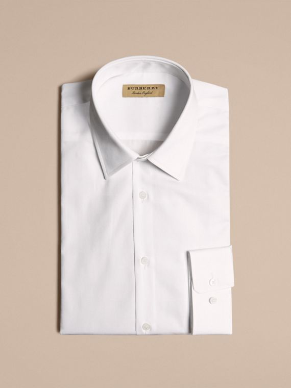 Modern Fit Check Cotton Poplin Shirt in White - cell image 3