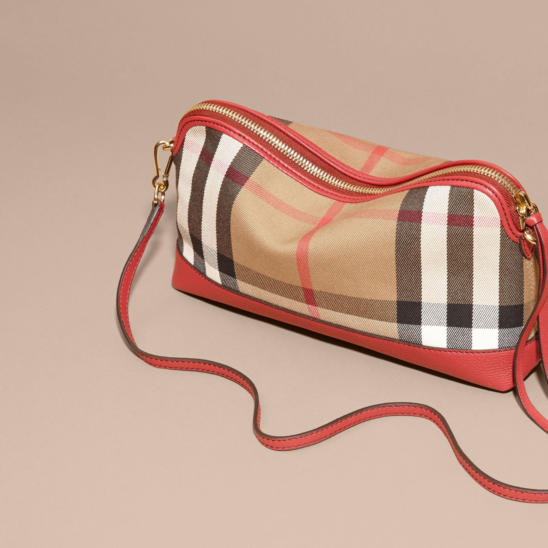 House Check and Leather Clutch Bag Russet Red - gallery image 5