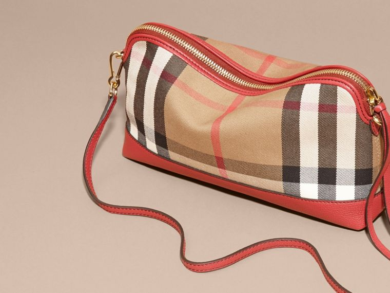 House Check and Leather Clutch Bag in Russet Red - Women | Burberry - cell image 4
