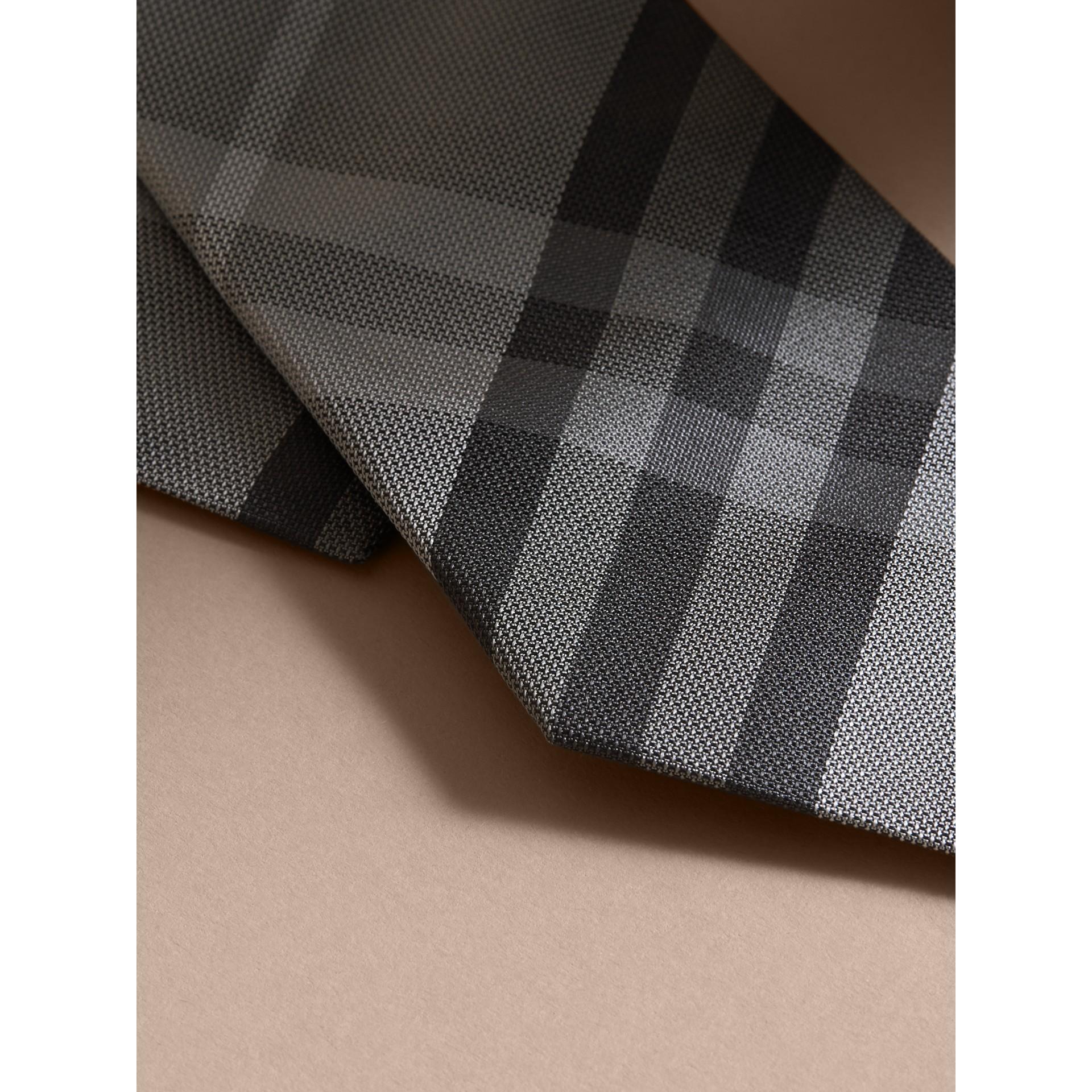 Modern Cut Check Silk Tie in Mid Grey - gallery image 2