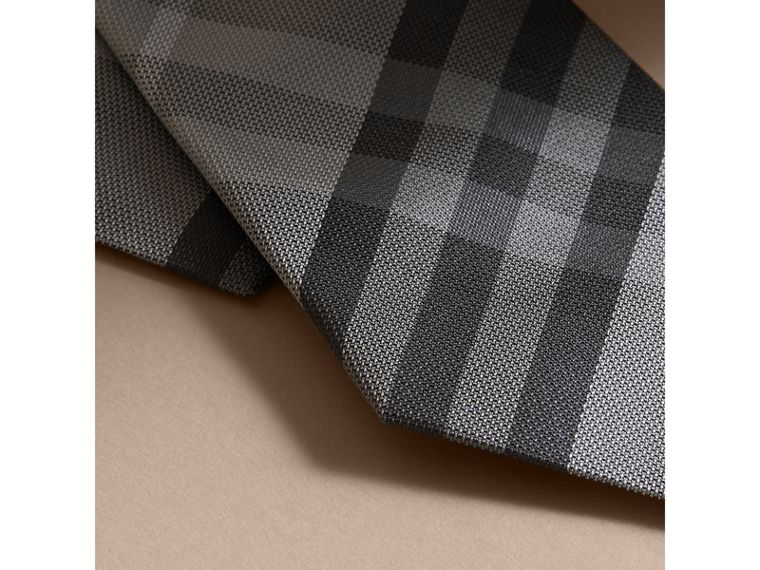 Modern Cut Check Silk Tie in Mid Grey - cell image 1