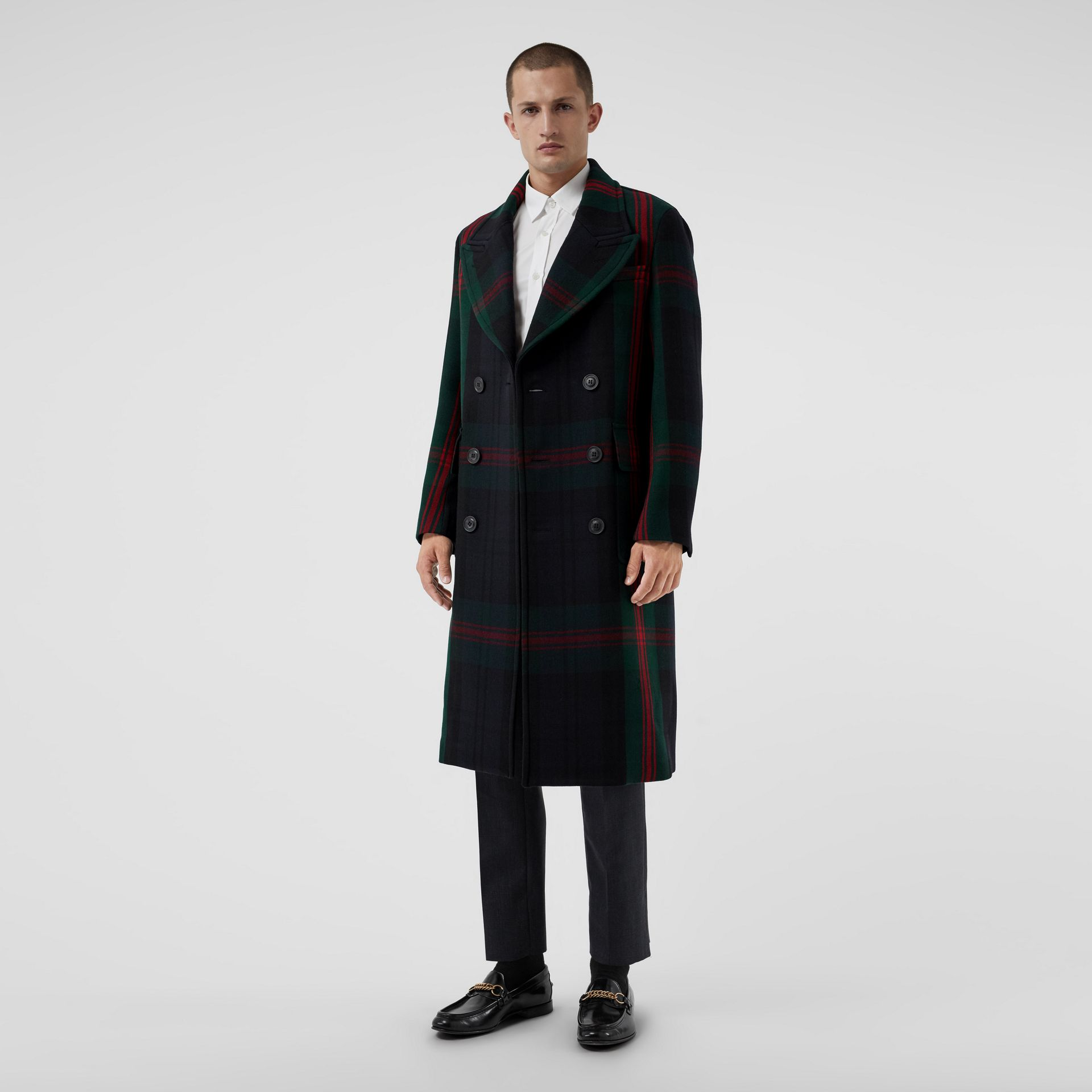 Tartan Wool Mohair Blend Tailored Coat in Navy Check - Men | Burberry Singapore - gallery image 5