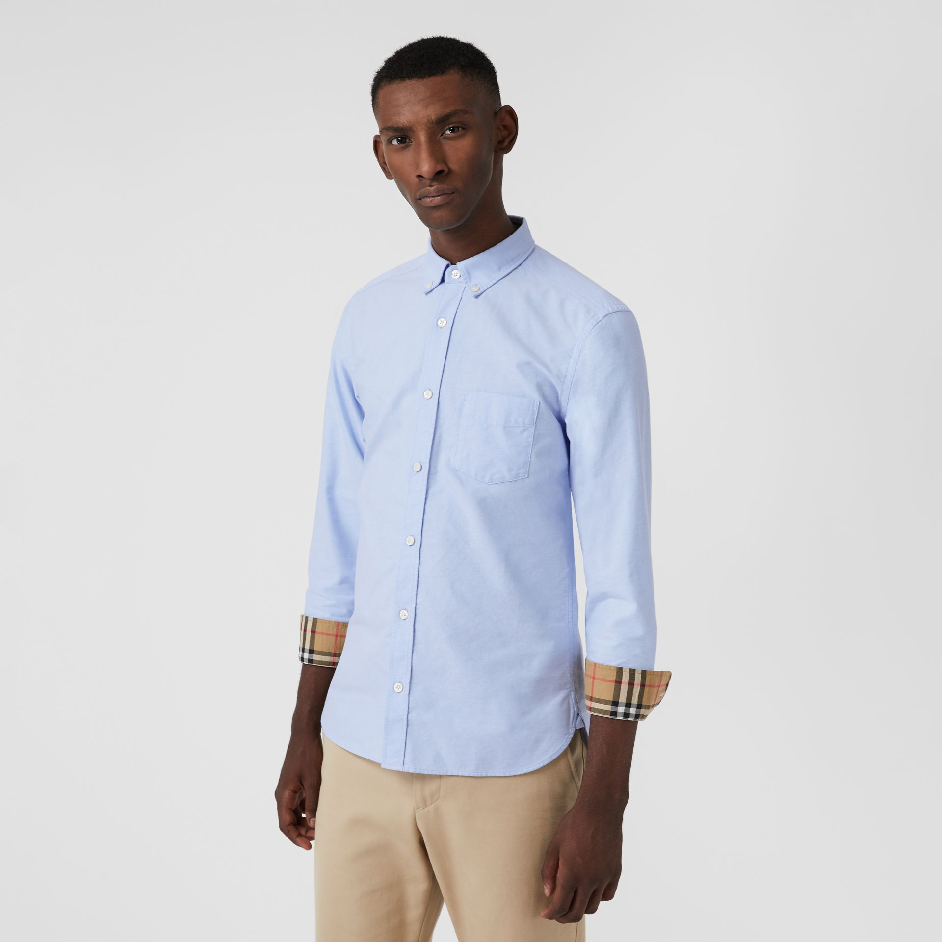 Check Cuff Cotton Oxford Shirt in Cornflower Blue - Men | Burberry - gallery image 4