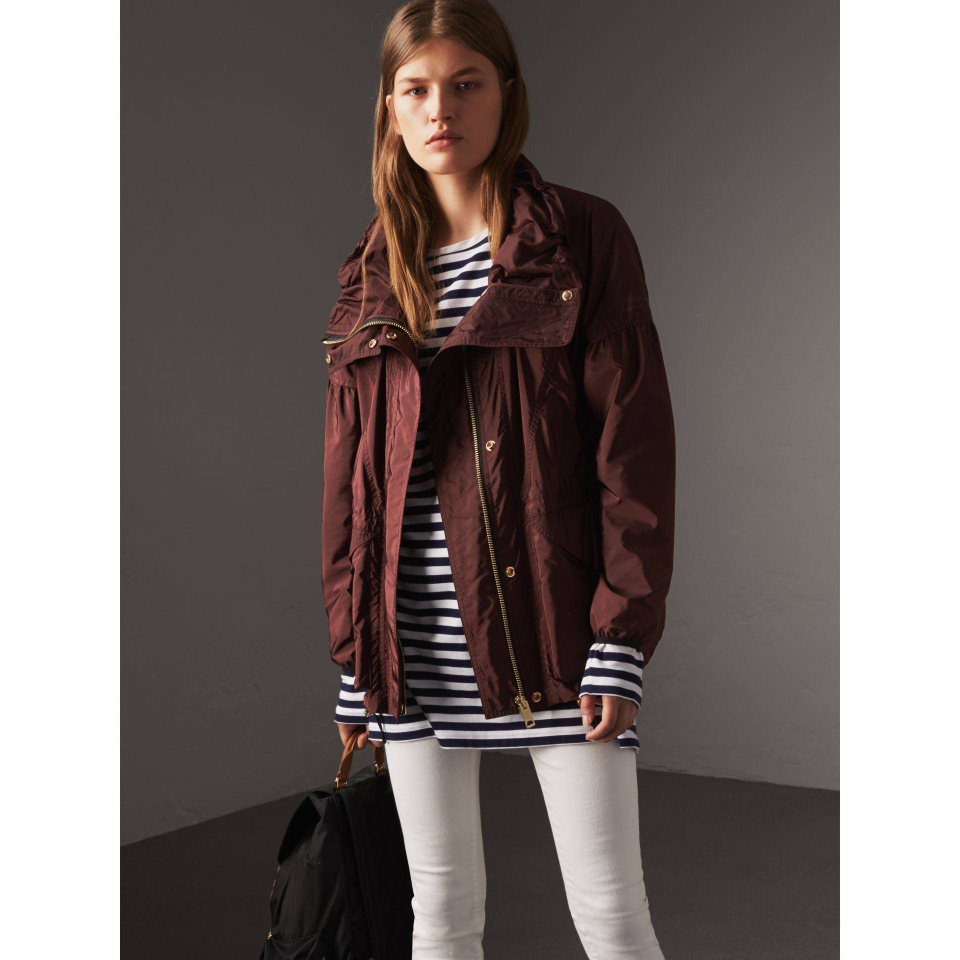 Packaway Hood Lightweight Rain Jacket in Deep Burgundy - Women | Burberry - gallery image 6