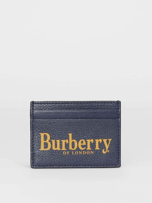 Logo Print Leather Card Case in Storm Blue/antique Green | Burberry - cell image 2