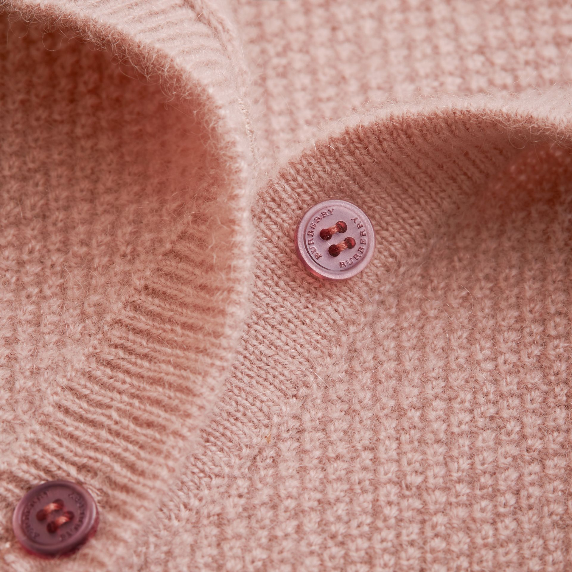 Textured Knit Cashmere Cardigan in Dusty Pink | Burberry - gallery image 1
