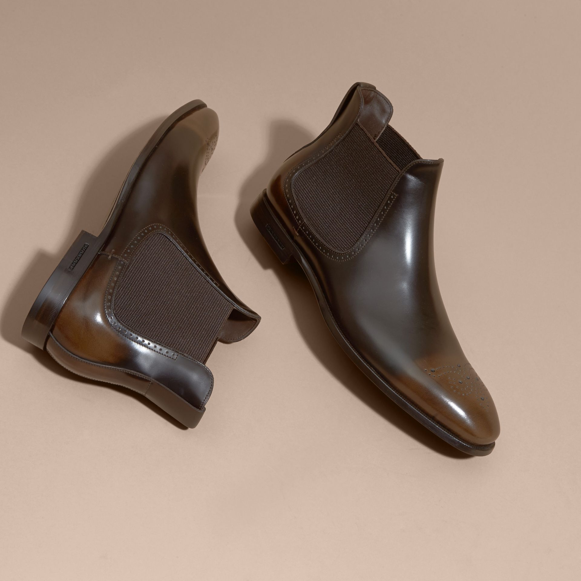 Perforated Detail Leather Chelsea Boots in Chocolate Brown - gallery image 3