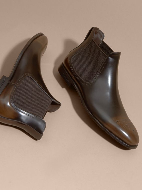 Perforated Detail Leather Chelsea Boots in Chocolate Brown - Men | Burberry - cell image 2