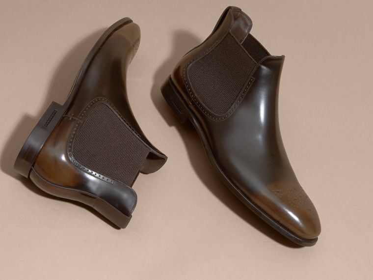 Perforated Detail Leather Chelsea Boots