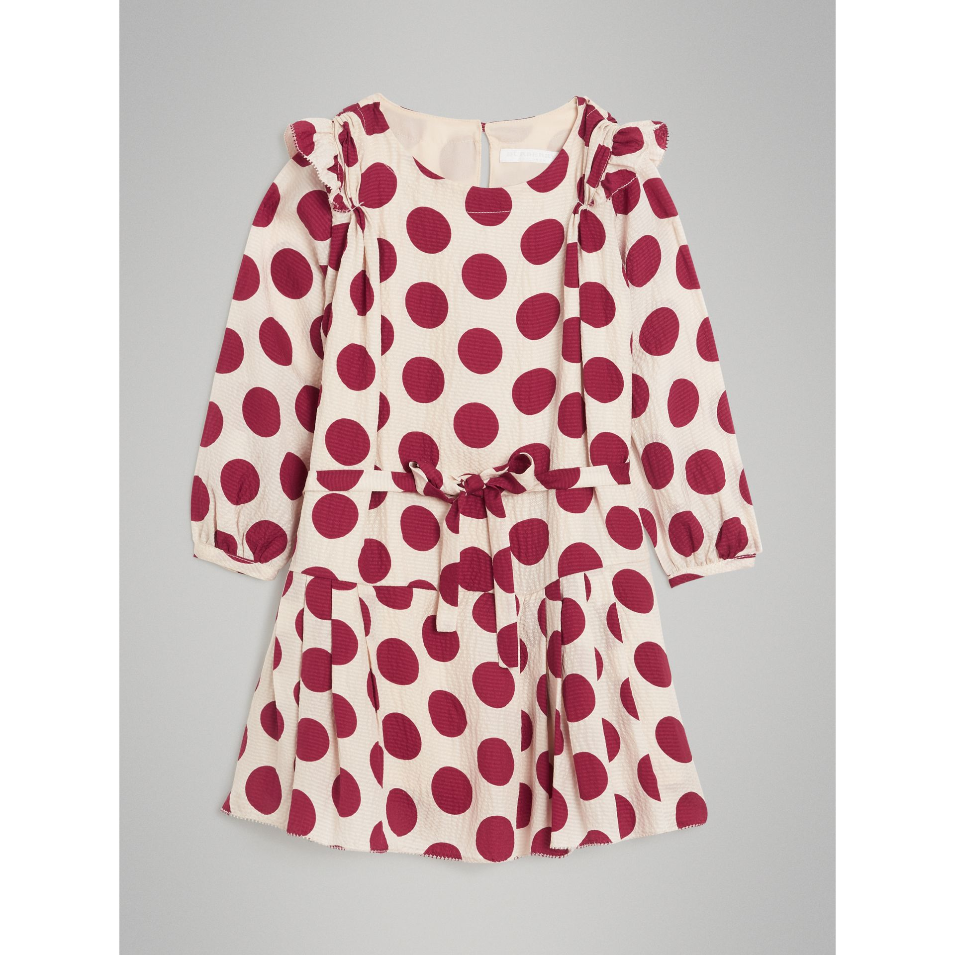 Polka Dot Print Silk Crepe Dress in Windsor Red | Burberry - gallery image 0