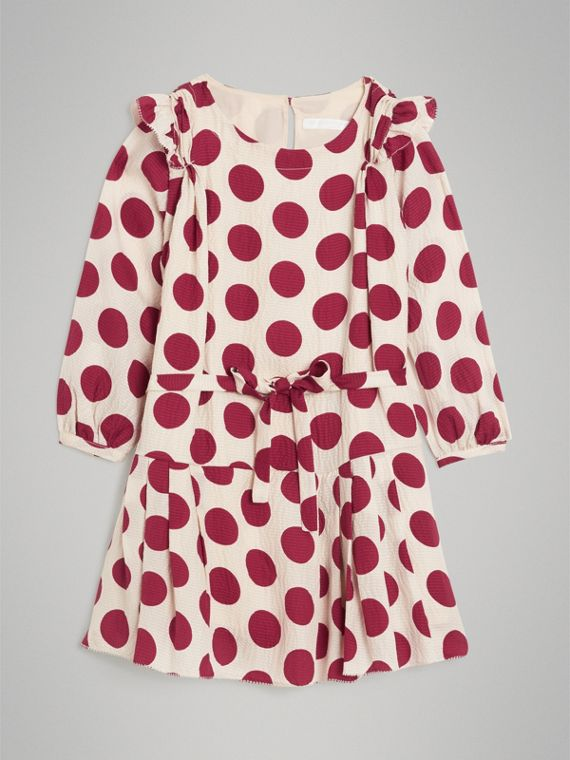 Polka Dot Print Silk Crepe Dress in Windsor Red