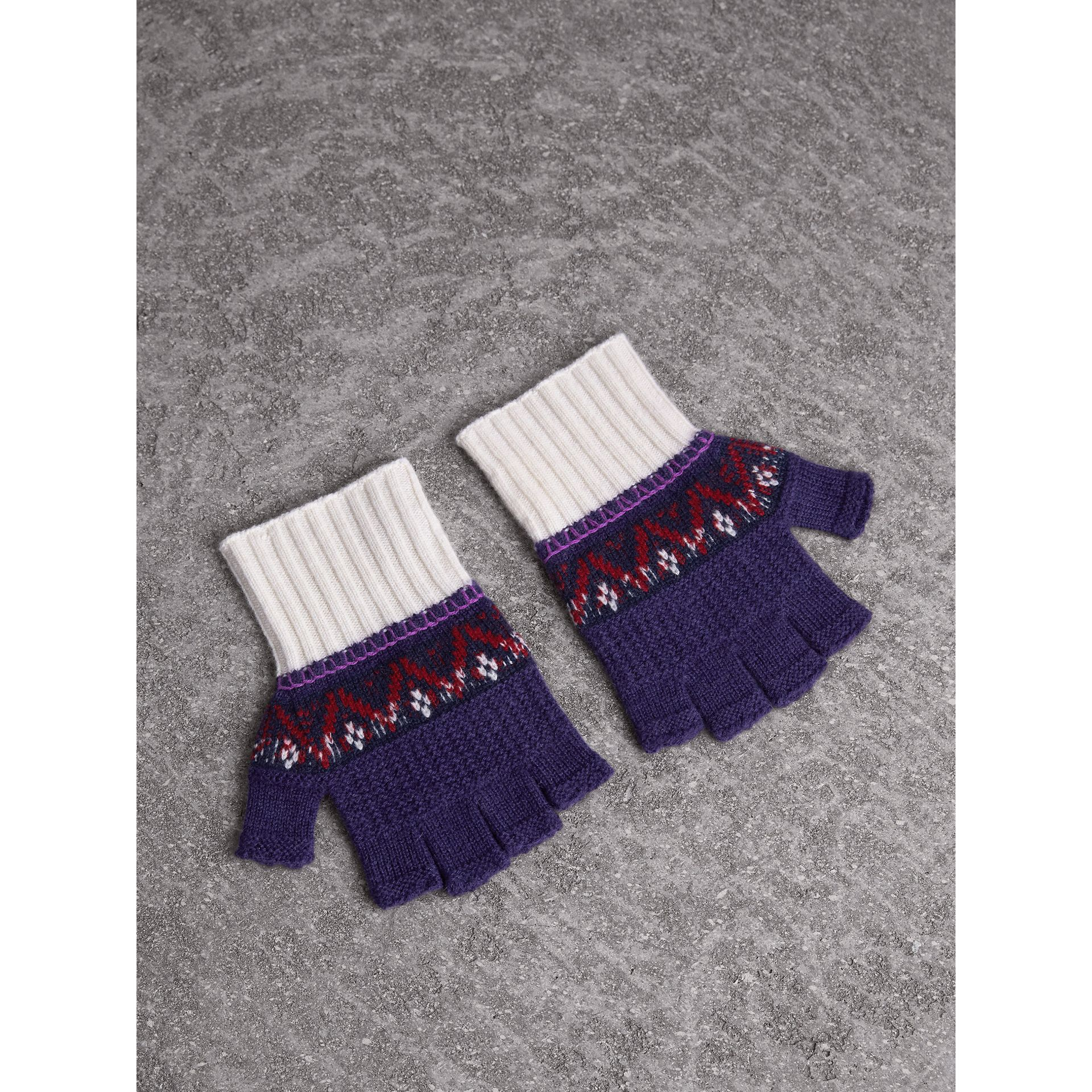 Fair Isle Cashmere Wool Fingerless Gloves in Purple Grape | Burberry - gallery image 0