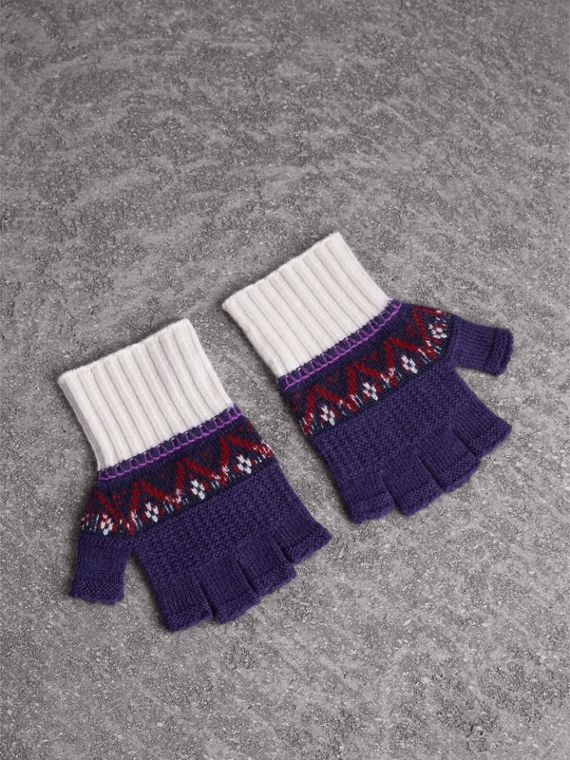 Fair Isle Cashmere Wool Fingerless Gloves in Purple Grape