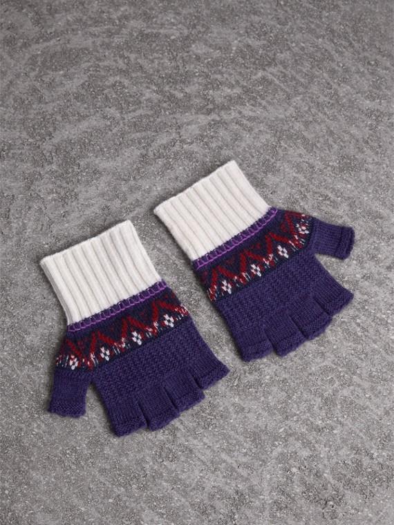 Guanti senza dita in cashmere e lana con motivo Fair Isle (Uva Viola)
