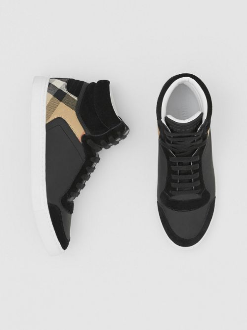 Burberry Tops Leather, Suede and House Check High-top Sneakers