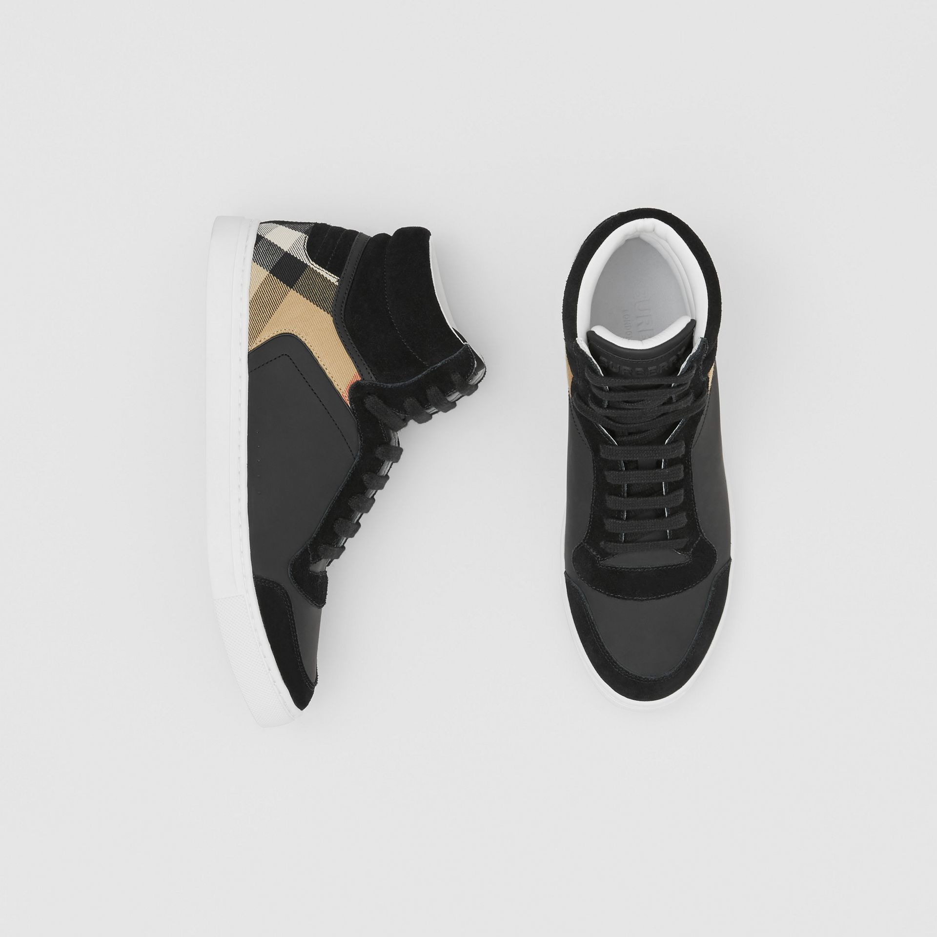 Leather, Suede and House Check High-top Sneakers in Black - Men | Burberry United States - gallery image 0