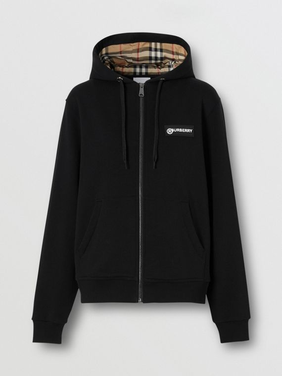 Vintage Check Panel Cotton Oversized Hooded Top in Black