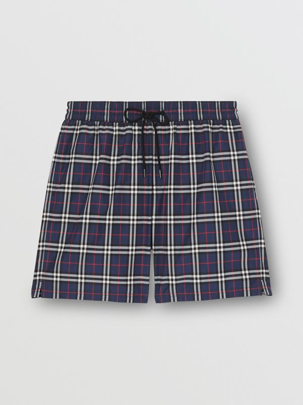 Check Drawcord Swim Shorts in Carbon Blue - Men | Burberry Canada - cell image 2