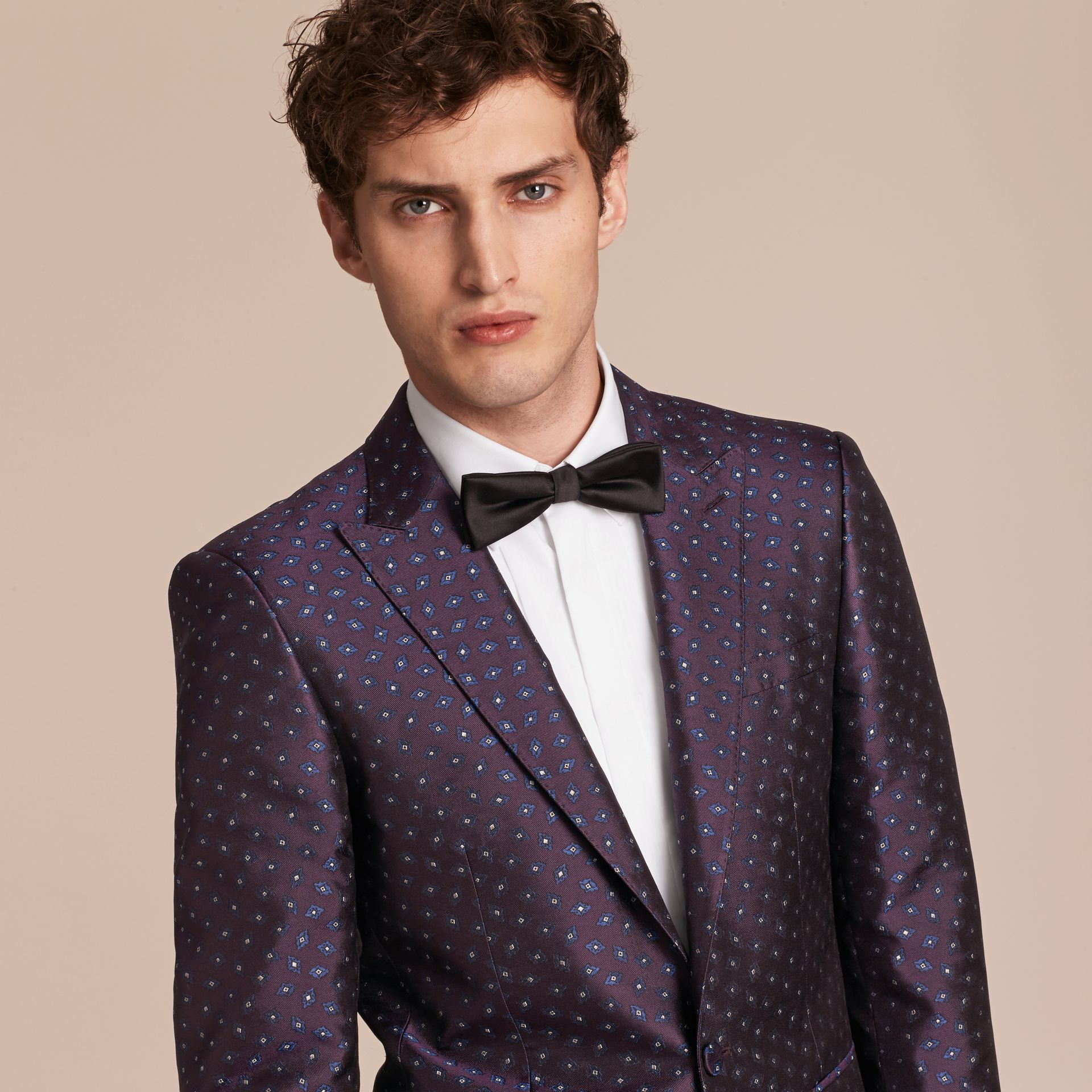 Deep aubergine Slim Fit Geometric Silk Jacquard Tailored Jacket - gallery image 5