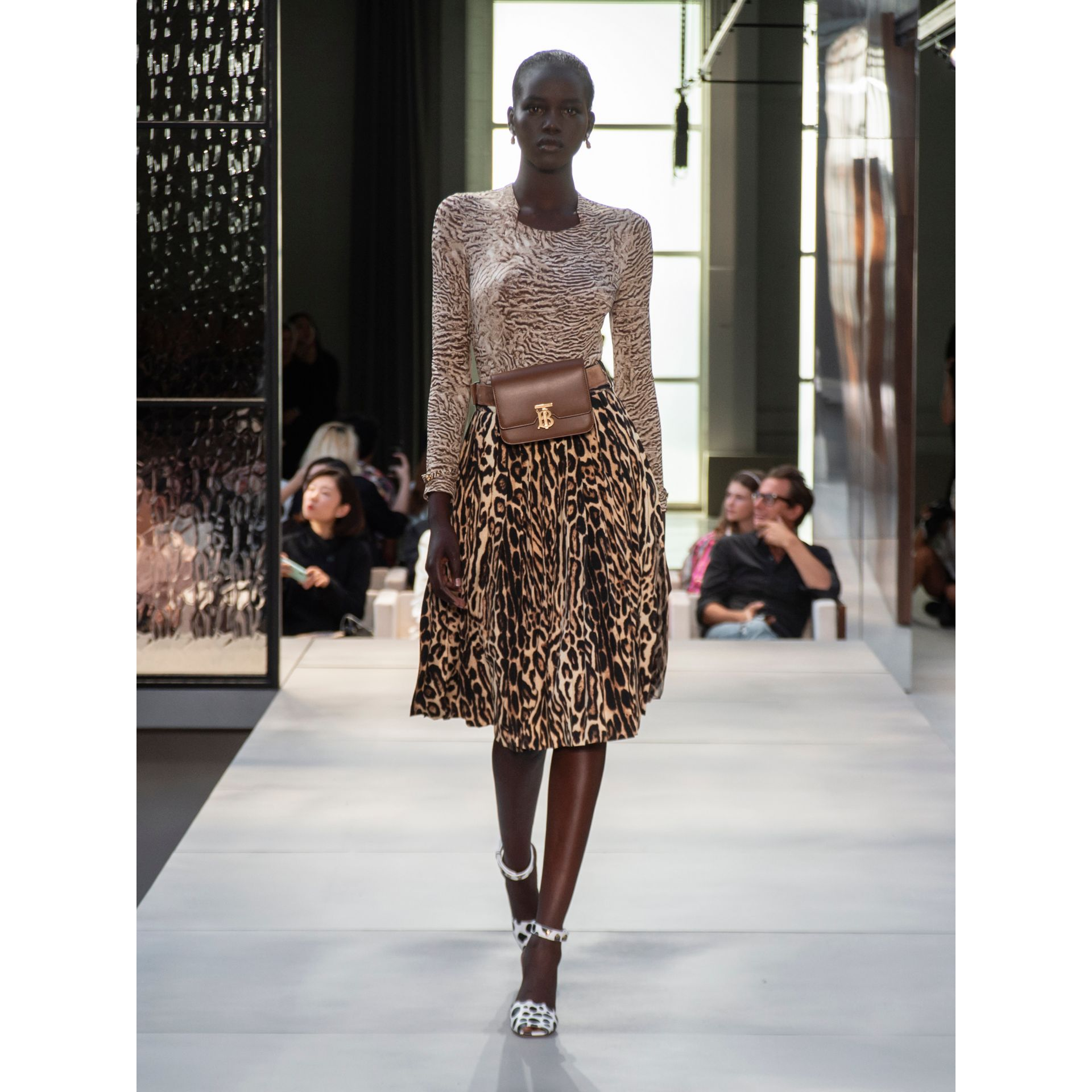 Leopard Print Stretch Silk Pleated Skirt in Camel - Women | Burberry - gallery image 6