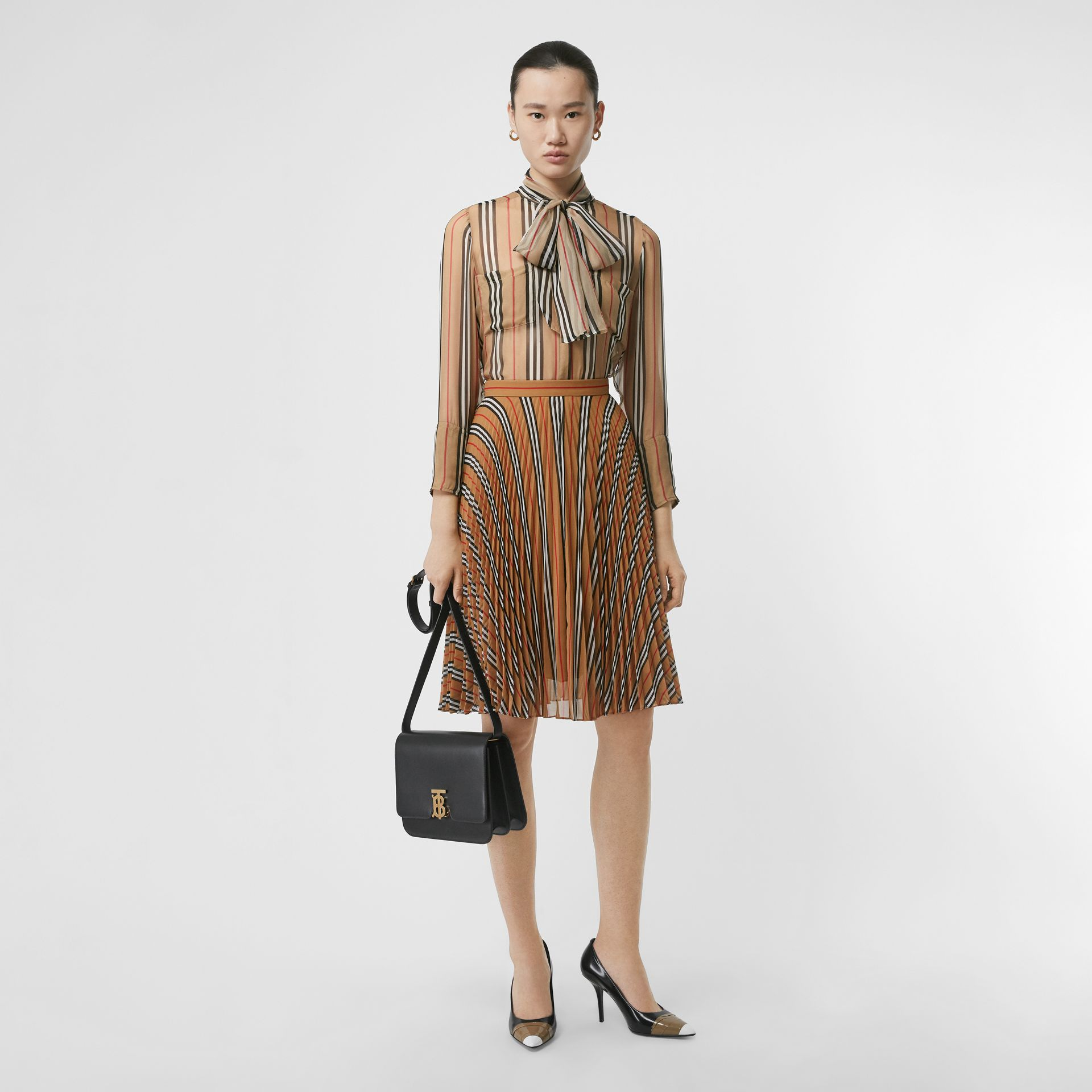 Icon Stripe Pleated A-line Skirt in Antique Yellow - Women | Burberry - gallery image 0