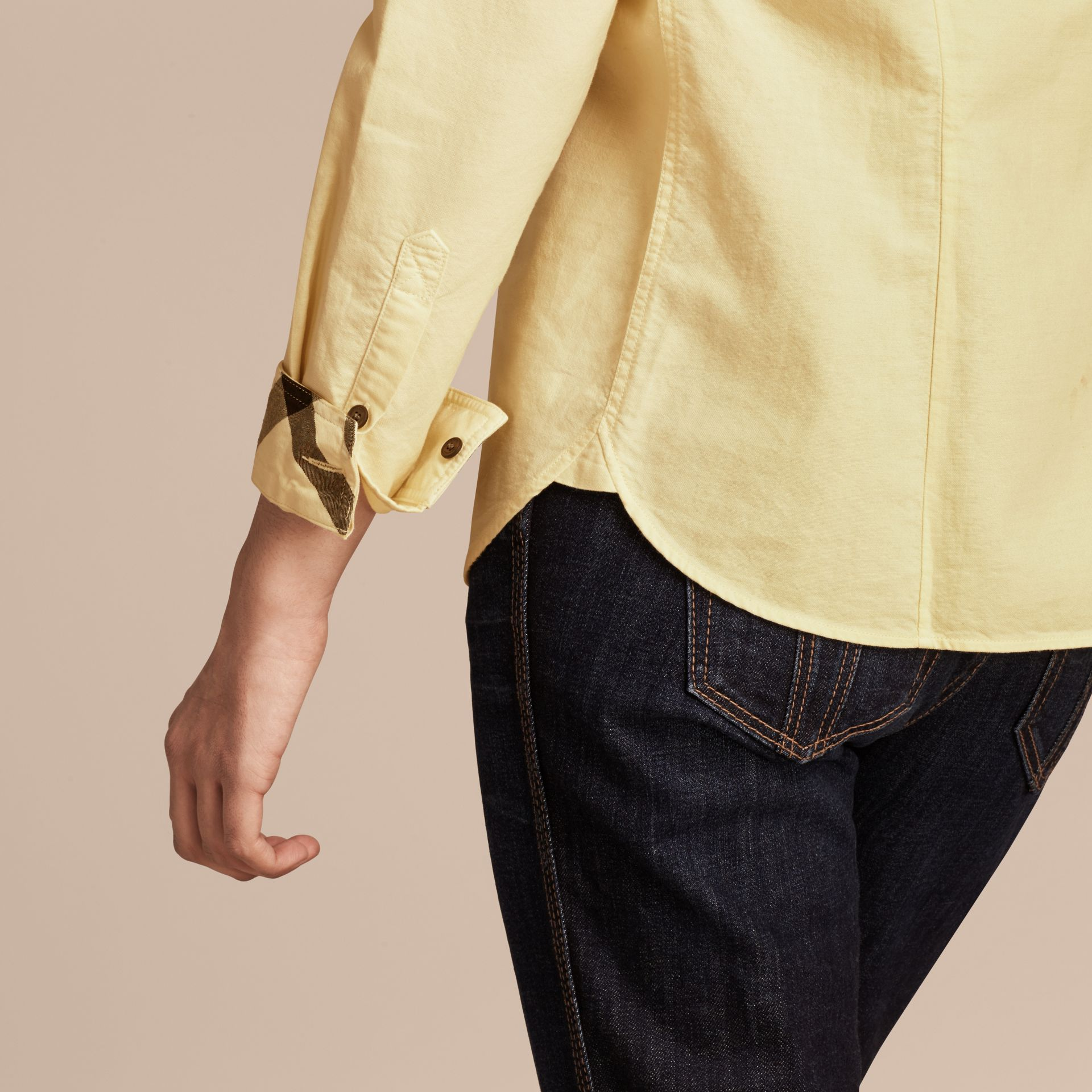 Pale yellow Check Detail Cotton Shirt Pale Yellow - gallery image 4