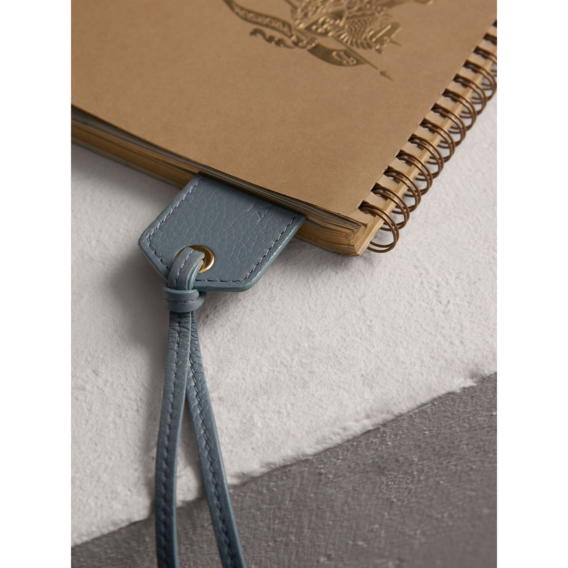 Embossed Leather Bookmark in Dusty Teal Blue | Burberry - gallery image 1