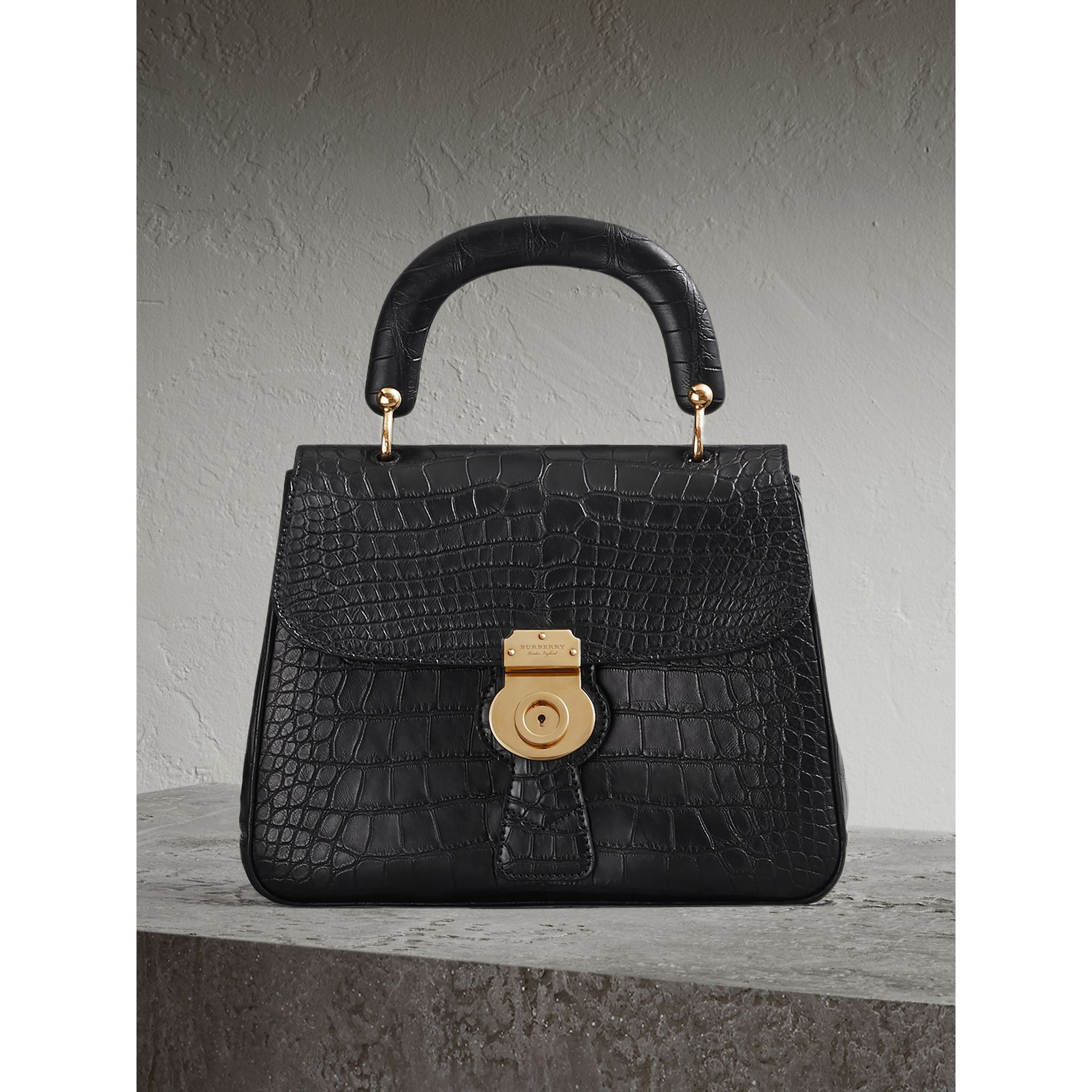 The Medium DK88 Top Handle Bag in Alligator in Black - Women | Burberry United Kingdom - gallery image 0