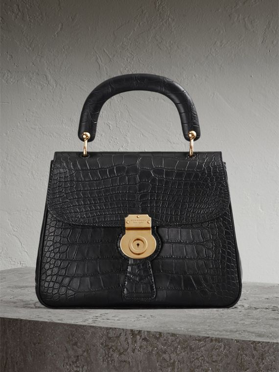 The Medium DK88 Top Handle Bag in Alligator in Black