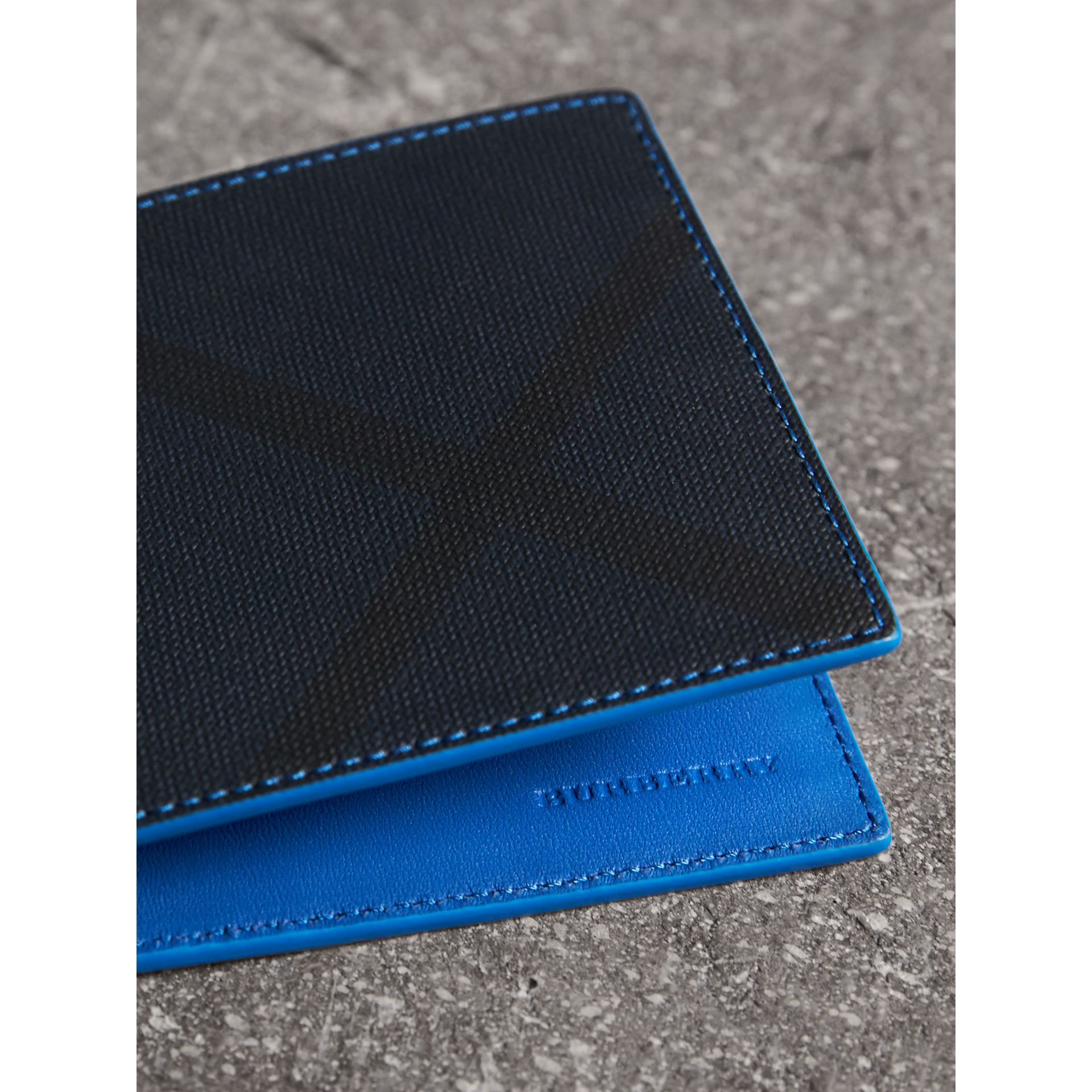 London Check and Leather International Bifold Wallet in Navy/ Blue - Men | Burberry Canada - gallery image 1