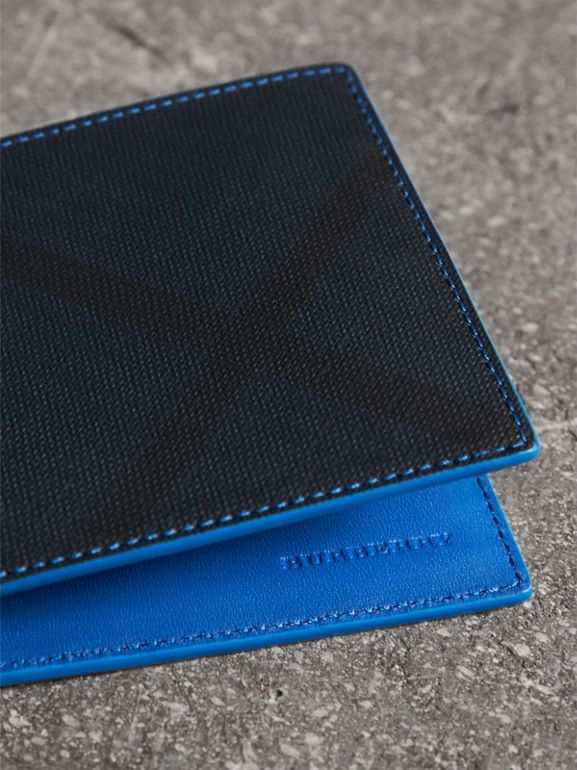 London Check and Leather International Bifold Wallet in Navy/ Blue - Men | Burberry - cell image 1